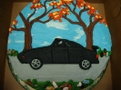 Car drawn on with autumn scene