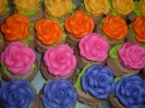 Roses on chocolate frosting