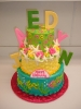 Bright Ocean Scene with Chocolate Letters
