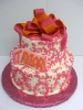 Pink Scroll with Pink and Orange Bow