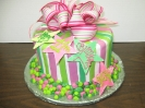Fondant Stripes on Double Layer with Dots Border