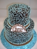 Chocolate ganache with blue lace